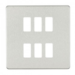 Knightsbridge Screwless Brushed Chrome 6 Gang Grid Faceplate