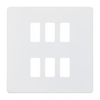 Knightsbridge Screwless Matt White 6 Gang Grid Faceplate