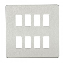 Knightsbridge Screwless Brushed Chrome 8 Gang Grid Faceplate