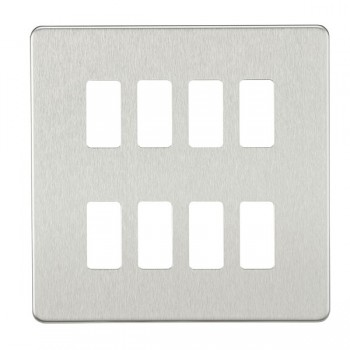 Knightsbridge Screwless Brushed Chrome 8 Gang Grid Faceplate
