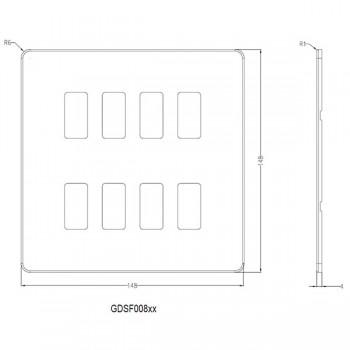 Knightsbridge Screwless Matt White 8 Gang Grid Faceplate