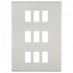 Knightsbridge Screwless Brushed Chrome 9 Gang Grid Faceplate