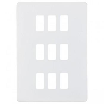 Knightsbridge Screwless Matt White 9 Gang Grid Faceplate