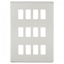 Knightsbridge Screwless Brushed Chrome 12 Gang Grid Faceplate