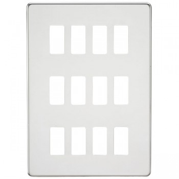 Knightsbridge Screwless Polished Chrome 12 Gang Grid Faceplate