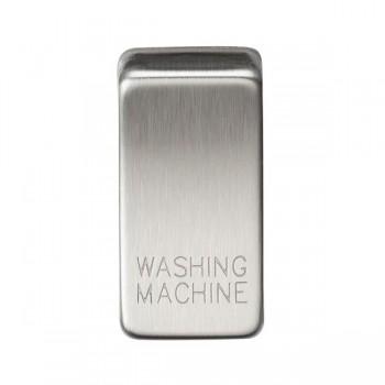 Knightsbridge Grid Brushed Chrome Module Rocker Switch Cover Marked 'WASHING MACHINE'