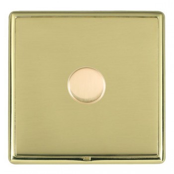 Hamilton Linea-Rondo CFX Polished Brass/Polished Brass Push On/Off Dimmer 1 Gang 2 way Inductive with Polished Brass Insert
