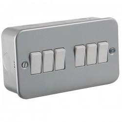 Knightsbridge Metal Clad 10A 6 Gang 2 Way Switch