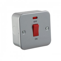 Knightsbridge Metal Clad 45A DP Switch with Neon (Single Plate)