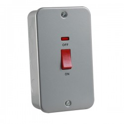 Knightsbridge Metal Clad 45A DP Switch with Neon (Double Plate)