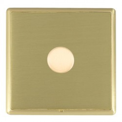 Hamilton Linea-Rondo CFX Satin Brass/Satin Brass Push On/Off Dimmer 1 Gang 2 way Inductive with Satin Bra...