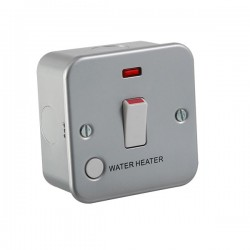 Knightsbridge Metal Clad 20A DP Switch with Neon and WATER HEATER Flex Outlet