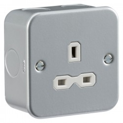 Knightsbridge Metal Clad 13A 1 Gang Unswitched Socket