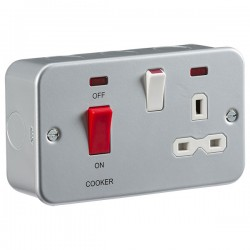 Knightsbridge Metal Clad 45A DP Switch and 13A Switched Socket with Neon