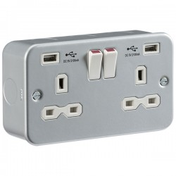 Knightsbridge Metal Clad 13A 2 Gang Switched Socket with Dual USB Charger
