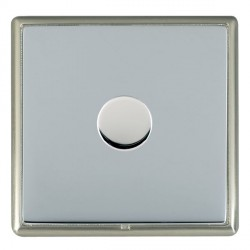 Hamilton Linea-Rondo CFX Satin Nickel/Bright Steel Push On/Off Dimmer 1 Gang 2 way Inductive with Satin S...