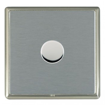 Hamilton Linea-Rondo CFX Satin Nickel/Satin Steel Push On/Off Dimmer 1 Gang 2 way Inductive with Satin Steel Insert