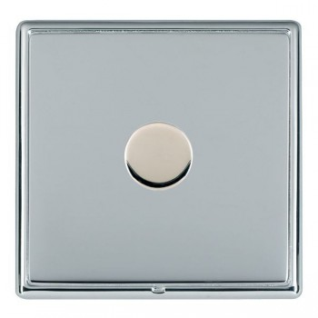 Hamilton Linea-Rondo CFX Bright Chrome/Bright Chrome Push On/Off Dimmer 1 Gang 2 way Inductive with Bright Chrome Insert