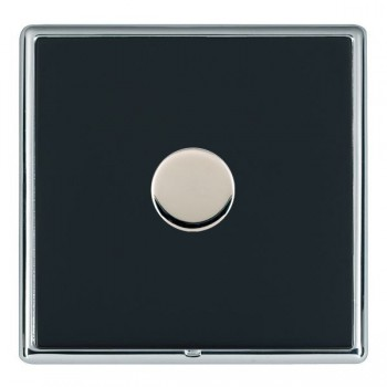 Hamilton Linea-Rondo CFX Bright Chrome/Piano Black Push On/Off Dimmer 1 Gang 2 way Inductive with Bright Chrome Insert