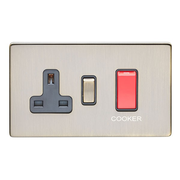 Eurolite Antique 2 Gang 45A Double Pole Switch and 13A Switched ...
