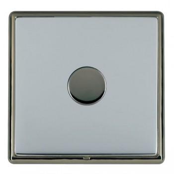 Hamilton Linea-Rondo CFX Black Nickel/Bright Steel Push On/Off Dimmer 1 Gang 2 way Inductive with Black Nickel Insert