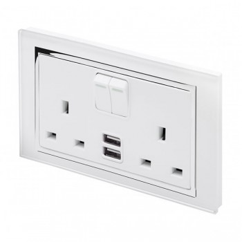 Retrotouch Crystal White Chrome Trim 13A DP Double Switched Socket with Dual USB Outlet