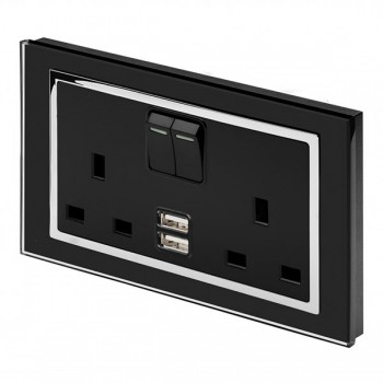 Retrotouch Crystal Black Chrome Trim 13A DP Double Switched Socket with Dual USB Outlet