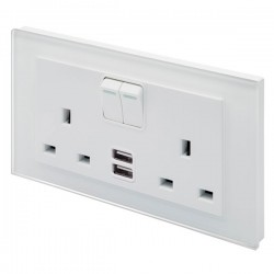 Retrotouch Crystal White Plain Glass 13A DP Double Switched Socket with Dual USB Outlet