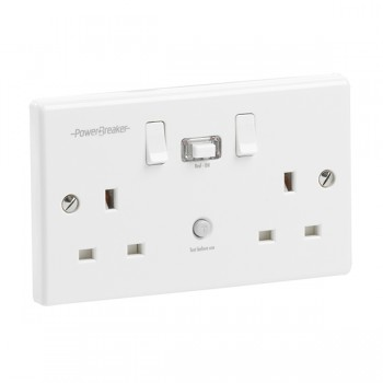 PowerBreaker White 2 Gang 13A Switched RCD Socket - Passive 10mA