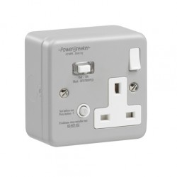 PowerBreaker Metalclad 1 Gang 13A Switched RCD Socket - Passive 10mA