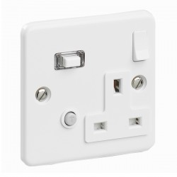 PowerBreaker White 1 Gang 13A Switched RCD Socket Skeleton - Passive 30mA