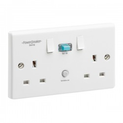 PowerBreaker White 2 Gang 13A Switched RCD Socket - Active 30mA