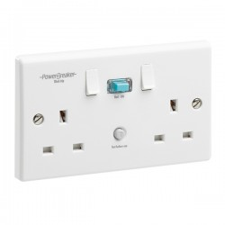 PowerBreaker White 2 Gang 13A Switched RCD Socket - Active 10mA