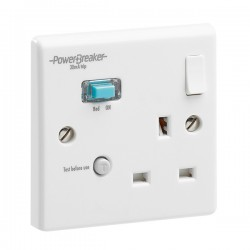 PowerBreaker White 1 Gang 13A Switched RCD Socket - Active 30mA