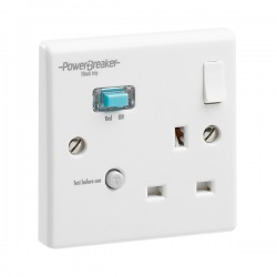 PowerBreaker White 1 Gang 13A Switched RCD Socket - Active 10mA