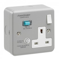 PowerBreaker Metalclad 1 Gang 13A Switched RCD Socket - Active 30mA