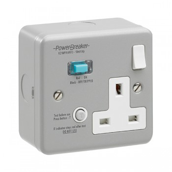 PowerBreaker Metalclad 1 Gang 13A Switched RCD Socket - Active 10mA