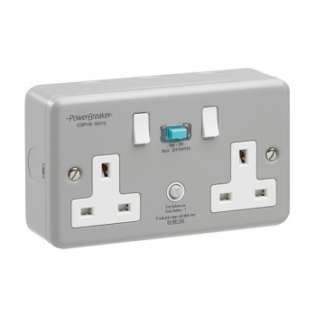 PowerBreaker Metalclad 2 Gang 13A Switched RCD Socket - Active 30mA