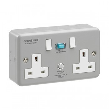PowerBreaker Metalclad 2 Gang 13A Switched RCD Socket - Active 10mA