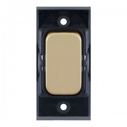 Selectric GRID360 Satin Brass 10A 1 Way Switch Module with Black Insert