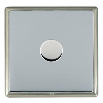 Hamilton Linea-Rondo CFX Satin Nickel/Bright Steel Push On/Off Dimmer 1 Gang 2 way Inductive with Satin Steel Insert