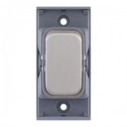 Selectric GRID360 Satin Chrome 10A 1 Way Switch Module with Grey Insert