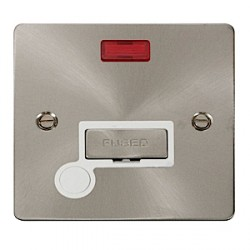 Click Define Brushed Steel Flat Plate Unswitched Fused Spur and Flex Outlet with White Insert and Neon
