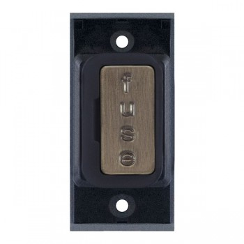 Selectric GRID360 Antique Brass 13A Fused Connection Unit Module with Black Insert