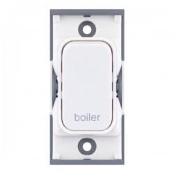 Selectric GRID360 White 20A DP Switch Module Marked 'boiler' with White Insert
