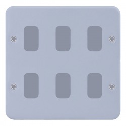 Selectric Metal Clad GRID360 6 Gang Faceplate