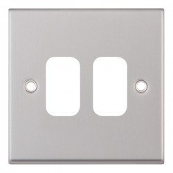 Selectric 7M-Pro GRID360 Satin Chrome 2 Gang Faceplate