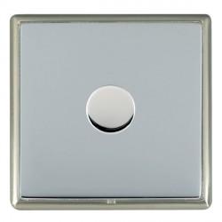 Hamilton Linea-Rondo CFX Satin Nickel/Bright Steel Push On/Off Dimmer 1 Gang 2 way with Satin Steel Insert