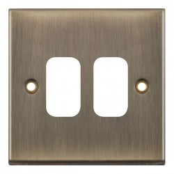 Selectric 7M-Pro GRID360 Antique Brass 2 Gang Faceplate