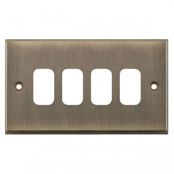 Selectric 7M-Pro GRID360 Antique Brass 4 Gang Faceplate